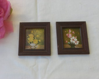 Pictures -  Miniatures - Floral Pictures - Set of 2 - Doll's House - Vintage