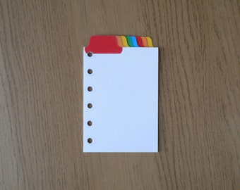 Filofax Pocket Organiser Dividers with 8 Multicoloured Top Positioned Mylar Tabs