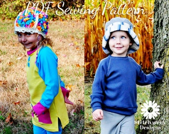 UNISEX Kids Clothes SEWING PATTERN, Childs T Sewing Pattern, Digital Sewing Pattern, Kids Knit Sewing, Tee Tunic Sweatshirt Dress, 9m-10Y