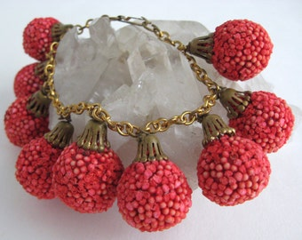 Vintage Bauble Bracelet Coral Colored Ball Charms Brass Chain