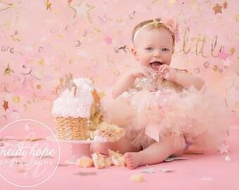 Pink Birthday Tutu   Baby Girls 1st Birthday Tutu Skirt   Champagne and Pink