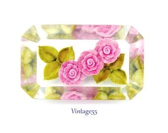 Lucite Pink Rose Brooch Vintage