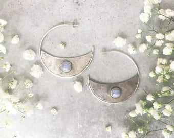 Crescent Moon Hoops with Blue Lace Agate