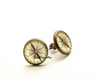 Antique Compass stud earrings, Old Compass earrings, compass jewelry, vintage compass earrings, Hypoallergenic earrings