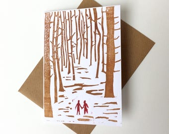 Gay wedding card . same sex wedding card - Couple walking through the forest - anniversary card