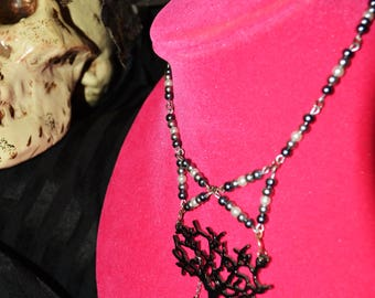 bow tie necklace with tree