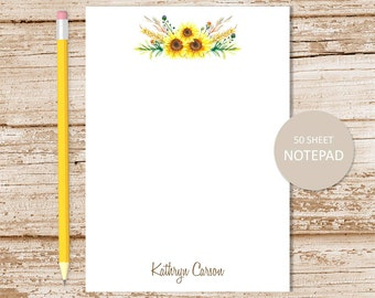 personalized notepad . sunflower note pad . watercolor sunflowers . sunflower notepad . personalized stationery . botanical stationary