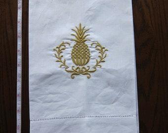 Linen Tea Towel w/ Embroidery