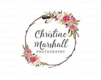 Premade logo wreath flower logo photography logo boutique floral logo small business logo photographer logo