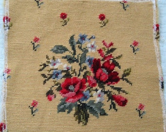 Vintage Floral Needlepoint Red Pink Blue Flowers on Gold Background 12x12