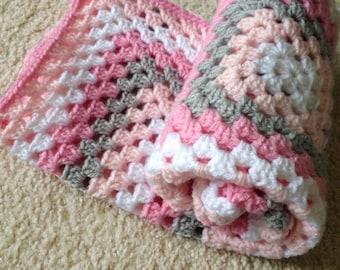 Pink and grey crochet baby blanket