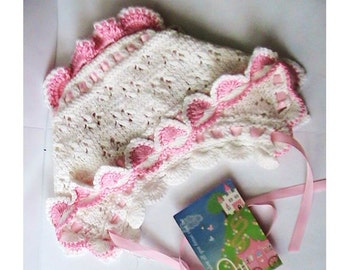 Ruffled Eyelet Baby Bonnet, White and Pink Baby Bonnet, Crochet Baby Girl Hat, Vintage Style Eyelet Baby Bonnet, Baby Girl Bonnet