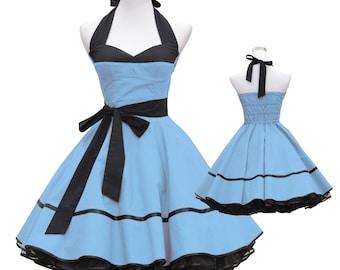 50's vintage dress full skirt black light blue corsage design custom made Retro