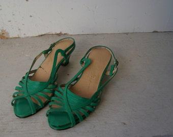 Kelly Green Sling Back Kitten Heeled Sandals