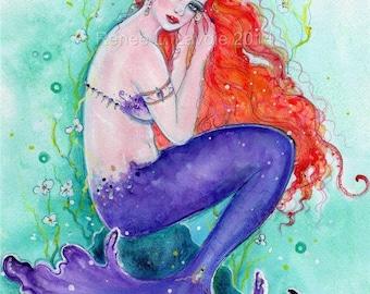 ACEO print purple mermaid with seashell  By Renee