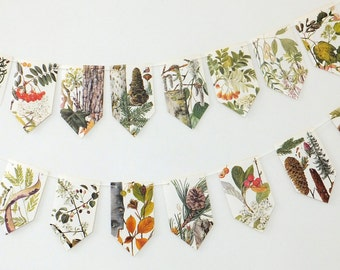 Tree bunting, nature garland, spring wedding decor, Recycled paper Garland. Eco friendly Wedding banner