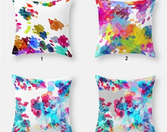 Watercolor Pillow Covers, Abstract Pillows  Mix Match Throw Pillows Yellow Green Blue Pink Purple Colorful Decorative Pillows Sofa Pillows