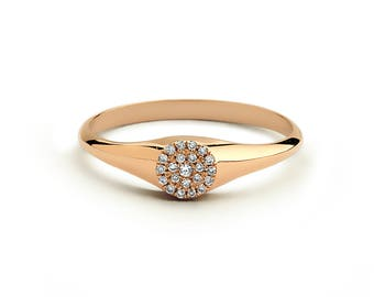 Rose Gold Diamond Signet Ring / Diamond Pinky Ring in 14k Rose Gold / Rose Gold Promise Ring with Micro Pave Setting