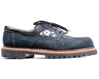 Us Mens 8 Bavarian Ethnic Shoes Men's 80s Wide Fit Vintage Edelweiss Ethno Shoes Navy Blue Floral Embroidery Lace Up Eur 41 UK 7.5