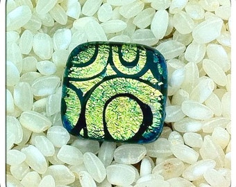 Dichroic Glass Feature Button - Silvered Metal Loop Back .. Iridescent Colours Green Blue Gold .. Black Swirls Pattern .. 15mm