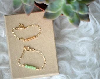 Baby birthstone bracelet, 14 k gold baby beaded bracelet,  dainty gold baby bracelet, dainty bracelet, baby blessing day bracelet