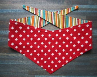 S-M reversible tie on dog bandana - red Canada maple leaf/colorful stripes Kanine Kerchief