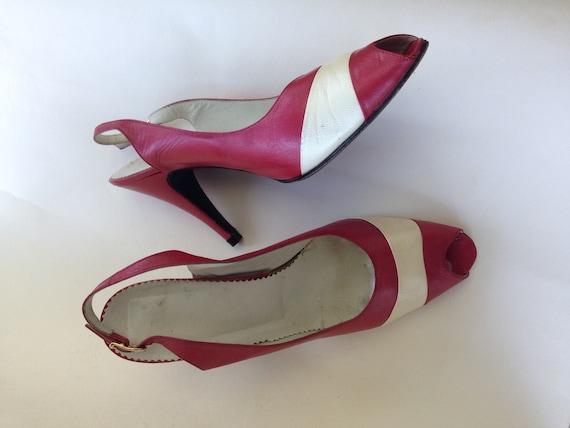 white retro women's red heeled 60s UK heeled sandals 7 Elegant like 5 38 toe slingbacks EUR Champagne up USA leather peep sandals pin gAZ5ZqO