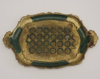 Authentic Florentine Serving Tray, Italian Venetian Resin Cocktail Tray, Made in Italy 1950 s