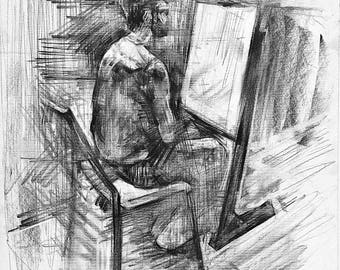 charcoal drawing, male painting, male drawing, original drawing, figure drawing, original art, fine art drawing, original painting