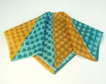 Signed Handkerchief, Green & Gold, Carl Tait, Vintage