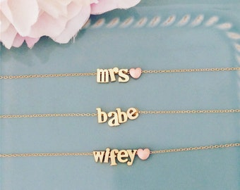 Bride Necklace Bachelorette Party Bridal Shower Ideas Bride to be name necklace Bride Gift Bachelorette Favors Bride Tribe She Said Yes Mrs