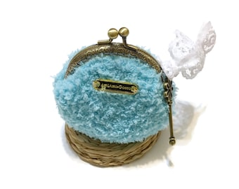 Kawaii Coin Purse Boho Chic Key Blue Crochet Bag Crochet Purse Crochet Coin Purse  Mothers Day Gift Birthday Gift Sister Gift Gift for Her