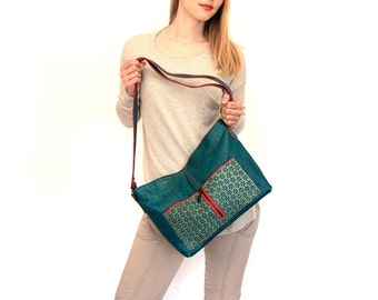 "sale - lined leather bag - zipper handmade leather tote – turquoise green bag with pockets - ooak crossbody bag - fashion purse  - ""VANDA"""