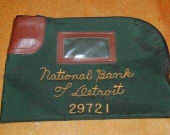 Detroit Bank Deposit Bag Vintage 30s National Bank Of Detroit Night Deposit Bag