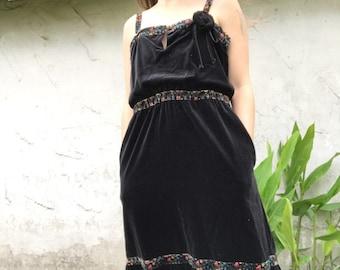 Soft Black Velvet Prairie Dress