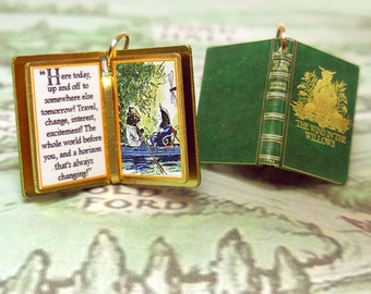 The Wind in the Willows by Kenneth Grahame - Miniature Book Shaped Charm Quote Pendant - for charm bracelet or necklace. Custom available!