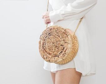 NEW crossbody bag • Straw bag Thai Weaving seagrass(water hyacinth) • handmade straw bag with knitting strap • boho bag in round shape