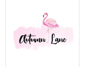 Premade Logo Design | Flamingo Logo | Photography Logo | Watercolor Logo | Business Logo | Branding | Blog Logo | Feminine Logo | Whimsical