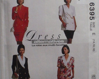 Dress Alternatives Sewing Pattern - One or Two Piece Double Breasted Dresses - McCall's 6395 - Sizes 14-16-18, Bust 36 - 40, Uncut