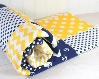 Nautical Baby Blanket, Nursery Decor, Minky Baby Blanket, Baby Quilt, Nursery, Yellow, Navy Blue, Navy, White, Anchor, Anchors, Baby Boy