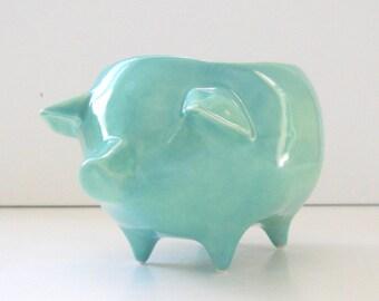 Pig Planter, Ceramic Pig, Succulent Planter, Vintage Design, Aqua Blue, Ceramic Planter, Sponge Holder, Home and Garden, Pig Gifts