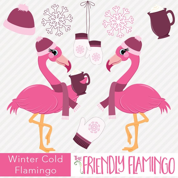 Winter flamingo clip art, scrapbooking, greeting card art, illustration,  pink girl snowflake clipart, bird art, digital PNG graphics (CL036)