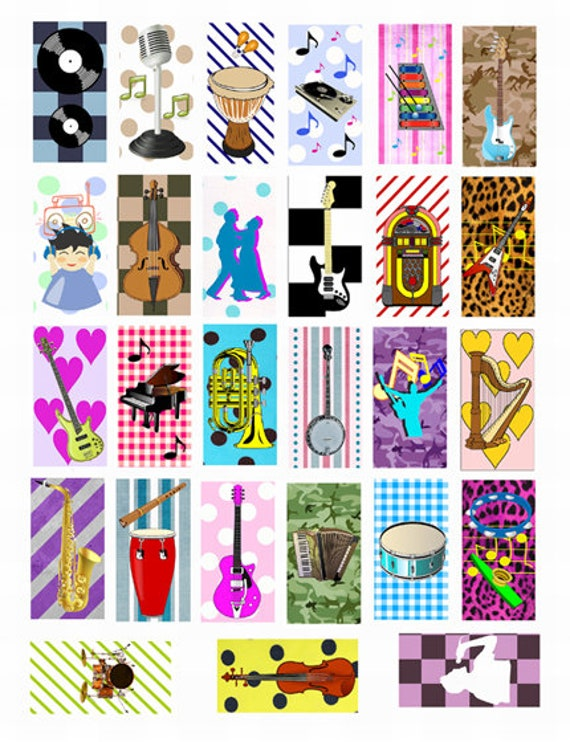 "musical instruments clipart art domino collage sheet digital download 1"" x 2"" inch graphics images printables pendants diy jewelry making"