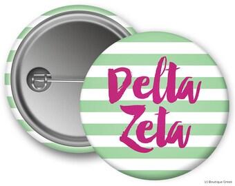 DZ Delta Zeta Stripe Sorority Greek Button