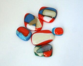 Mosaic pebbles - fused glass pendants -  mosaic fused glass puddles - mosaic embellishments - orange glass - green - blues - tans