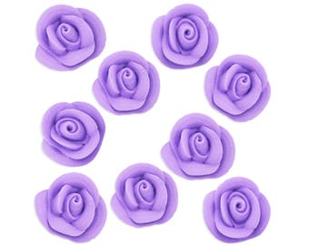 Lavender Icing Roses - light purple sugar rose cake toppers, pastel purple rose cake decorations