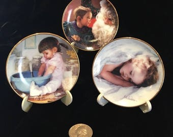 Rob Anders Mini Collector Plates - Tucked In - Cookies For Daddy - A Visit to Santa - Distributed by Porterfield's