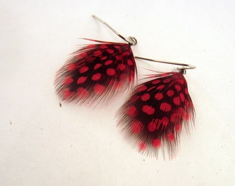 Polka dot Feather Earrings Red