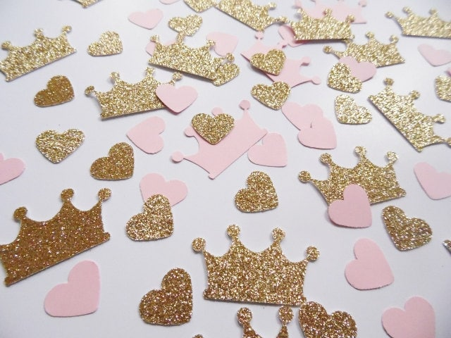 Princess Crown Confetti Pink And Gold Heart Party