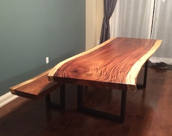 """100""""x38""""x3"""" Live Edge Table with bench"""